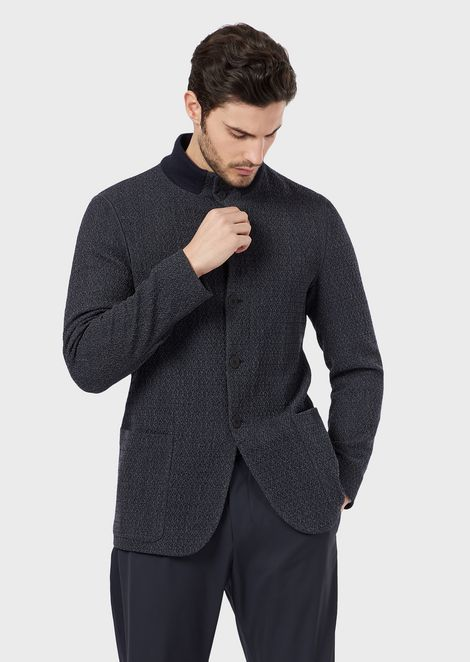 Two-colour knit-effect virgin wool jacket