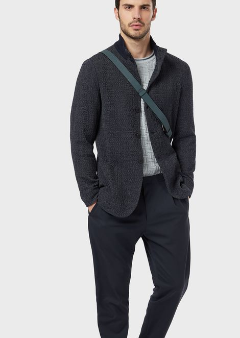 Jacket in two-colour knit-effect virgin wool