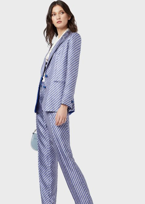 Single-breasted jacket in printed silk twill