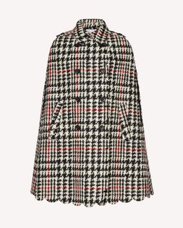 REDValentino Scallop detail wool hounds tooth cape