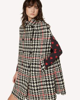 REDValentino Houndstooth wool cape with scallop detail