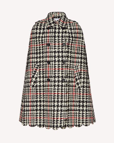 Scallop detail wool hounds tooth cape