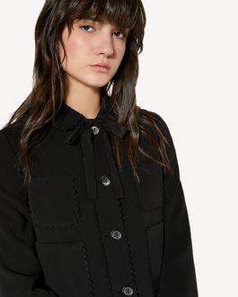 REDValentino Stretch-frisottine jacket with zagana ribbon detail