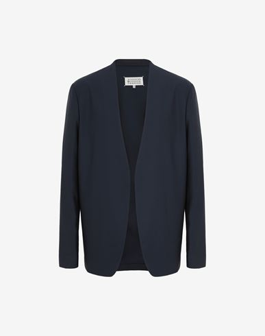 COATS and JACKETS Collarless blazer Blue