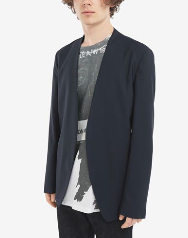 COATS & JACKETS Collarless blazer Blue
