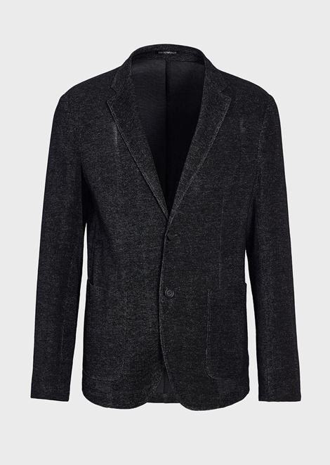 66127758c1 Single-breasted jacket in ultralight jersey | Man | Emporio Armani