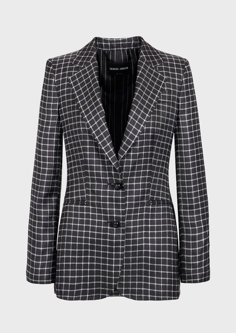 Single-breasted jacket in square pattern silk twill