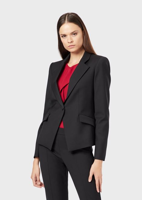 Single-breasted jacket in stretch virgin wool