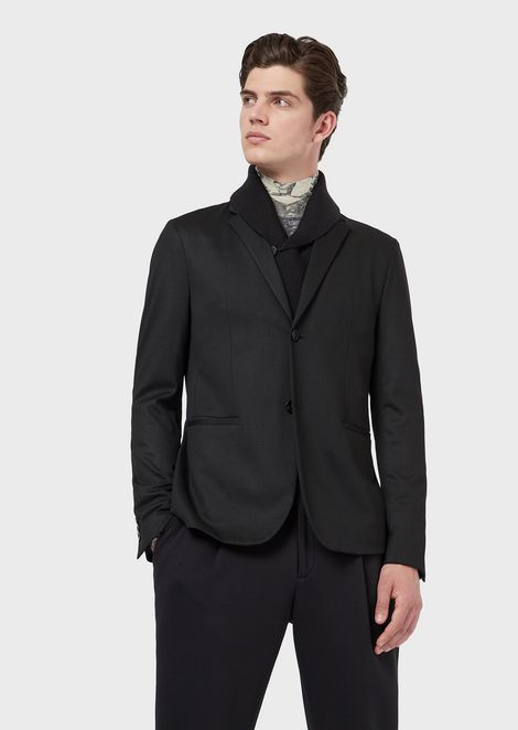Single-breasted jacket with detachable knit collar