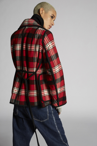 DSQUARED2 Wool Check Hamilton Kaban Kaban Woman