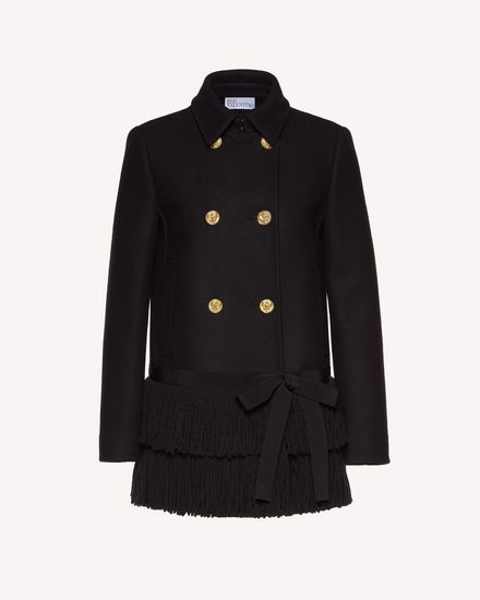 Fringed wool and cashmere coat