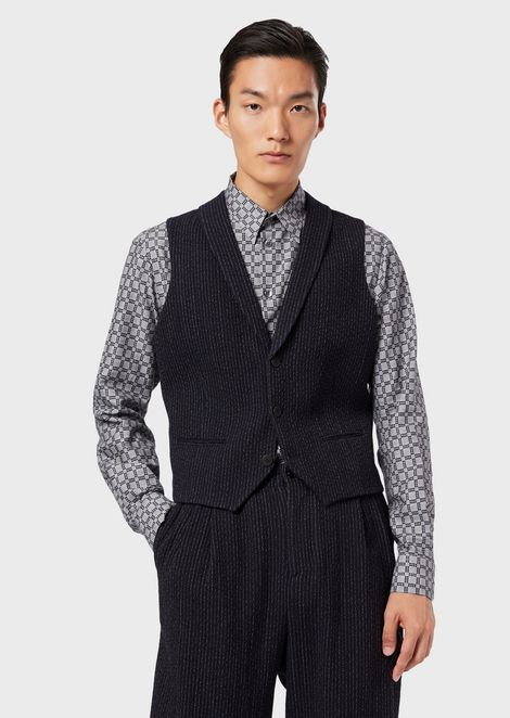 Single-breasted gilet in pinstripe knit-effect virgin wool