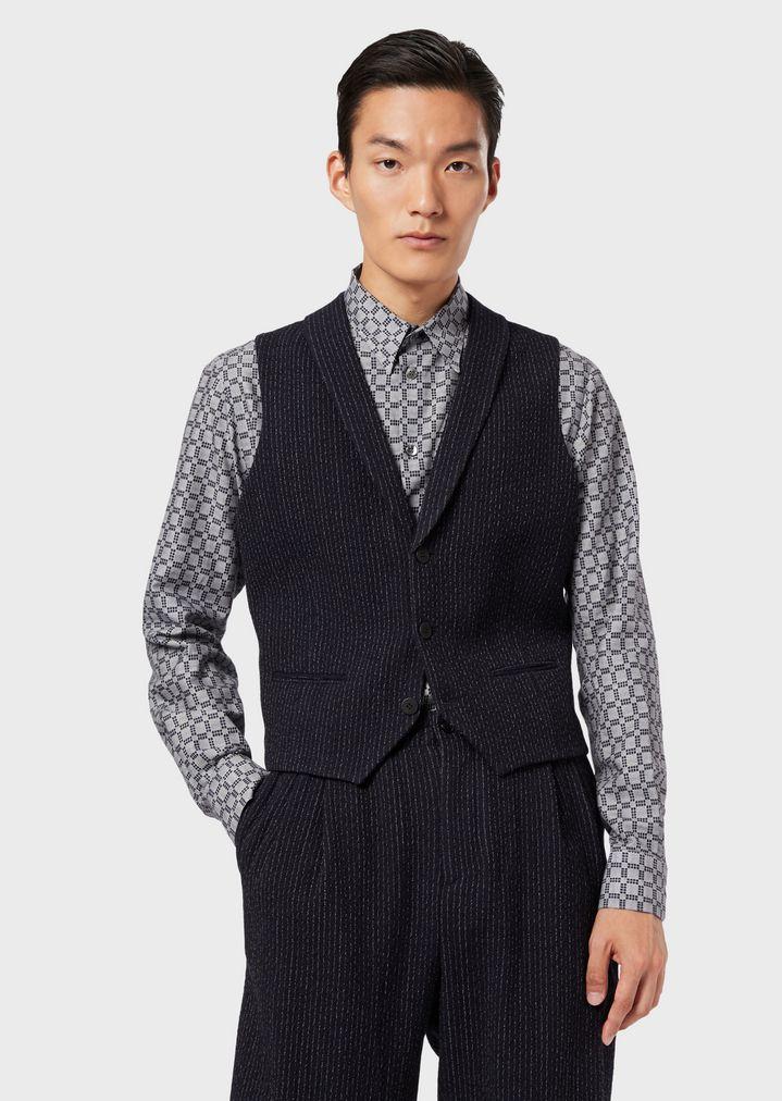 0aec515d86 Single-breasted gilet in pinstripe knit-effect virgin wool