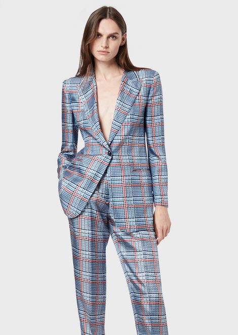 Single-breasted jacket in check pattern silk twill