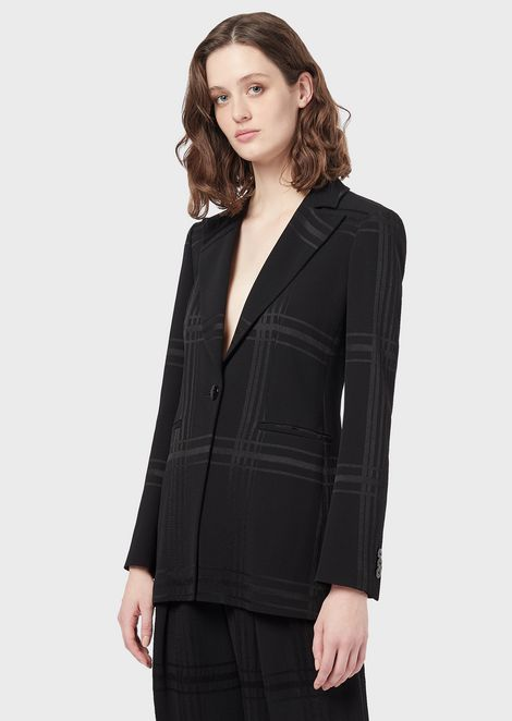 Single-breasted jacket in crêpe cady with maxi check pattern