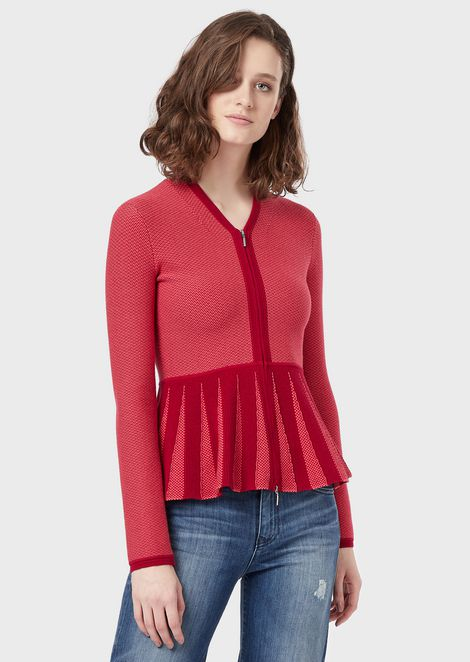 Two-tone, micro-jacquard cardigan with peplum waist
