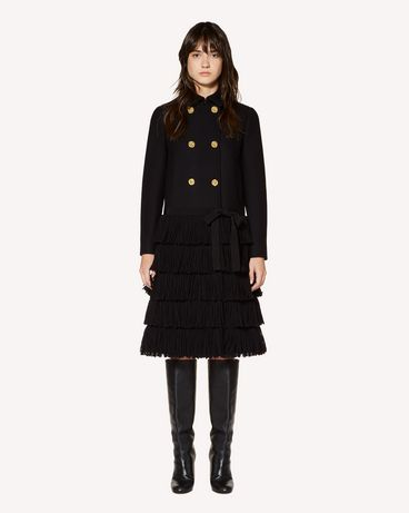 REDValentino Cashmere and wool fabric coat with fringes