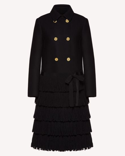 Fringes detail wool Cashmere coat