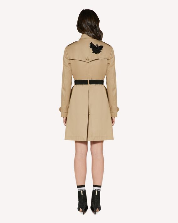 REDValentino Gabardine trench coat with swan patch