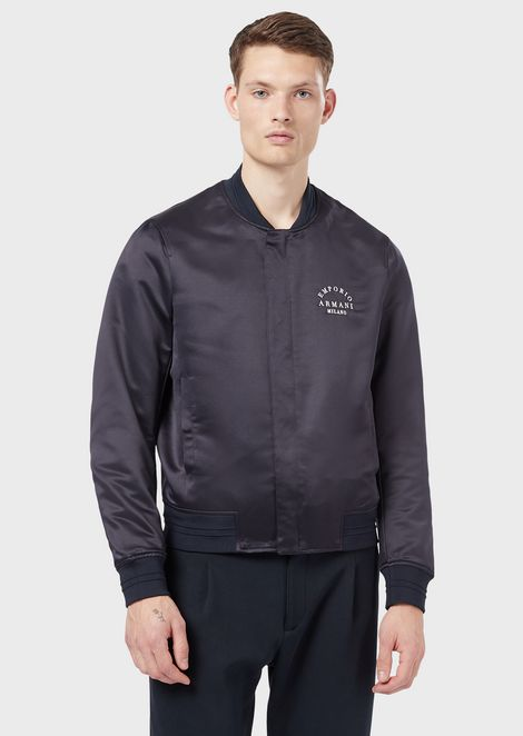 Satin bomber with embroidered logo