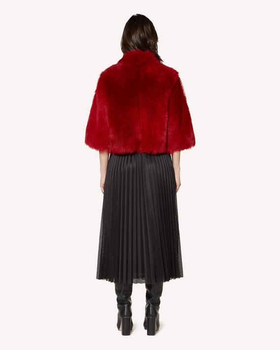 REDValentino Scallop detail shearling reversible jacket