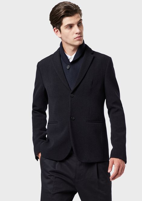 Jacket in textured wool blend with removable shawl collar