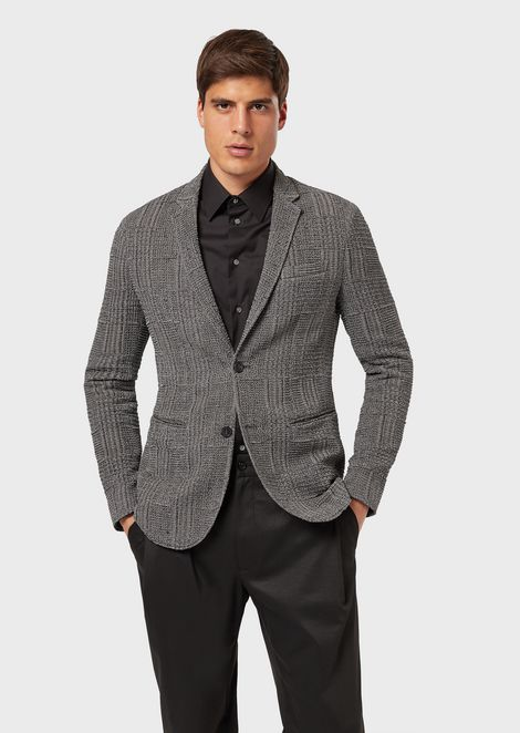 be172fef Single-breasted jacket in stretch fabric with Prince of Wales pattern