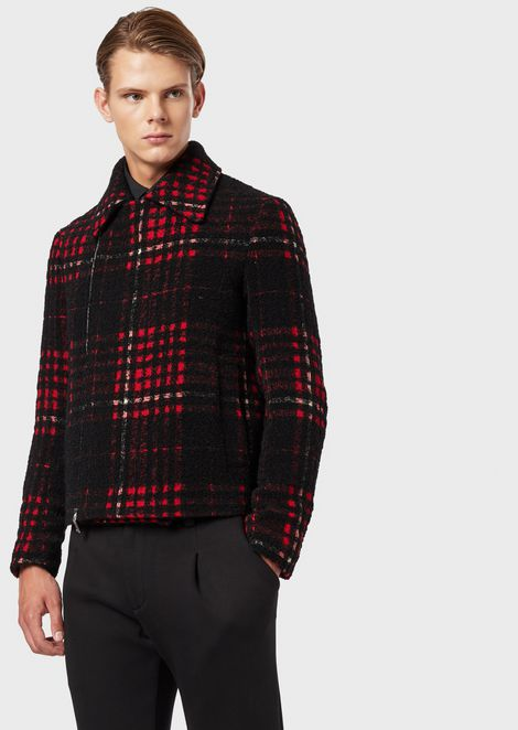 Wool and alpaca blend check blouson