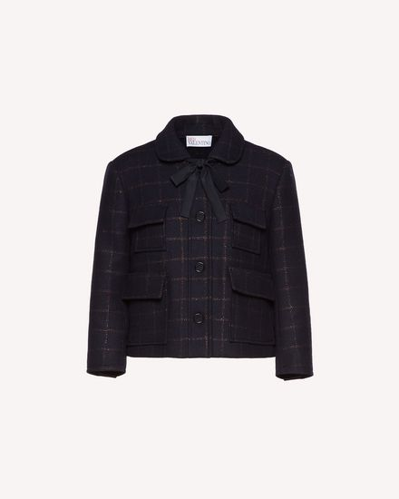 Lurex and wool check jacket