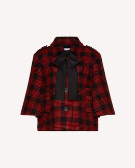 REDValentino Wool prince of wales jacket with bow collar