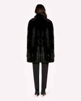 REDValentino Sheepskin cape with scallop detail