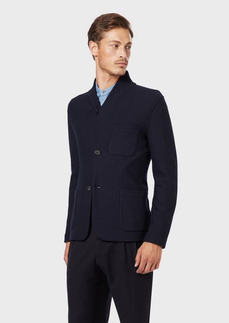 Deconstructed jacket with shawl collar in virgin wool