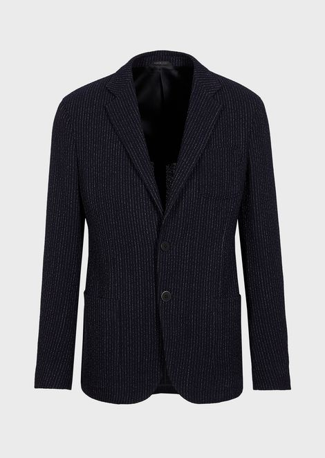 Regular-fit, crépon Upton jacket in a pinstriped knit-effect fabric