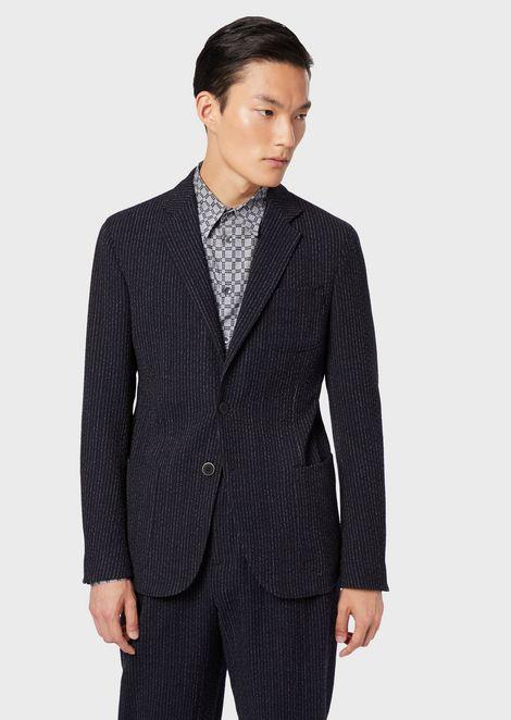 Veste de la gamme Upton coupe classique en tissu à fines rayures effet tricoté