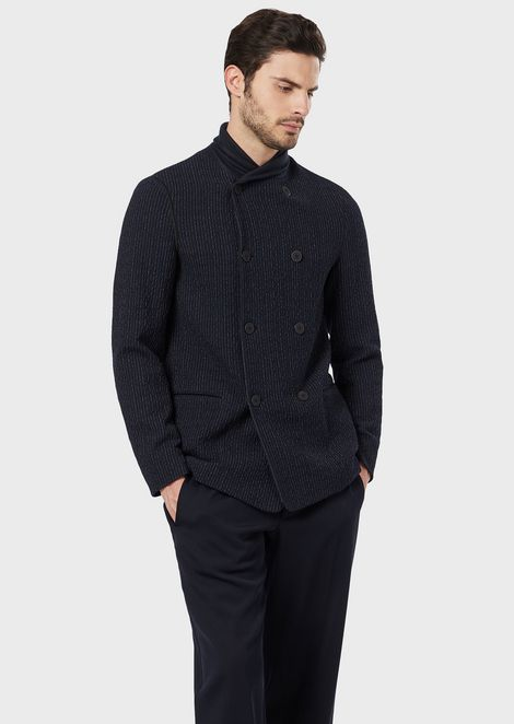 Double-breasted jacket in pinstripe knit-effect virgin wool