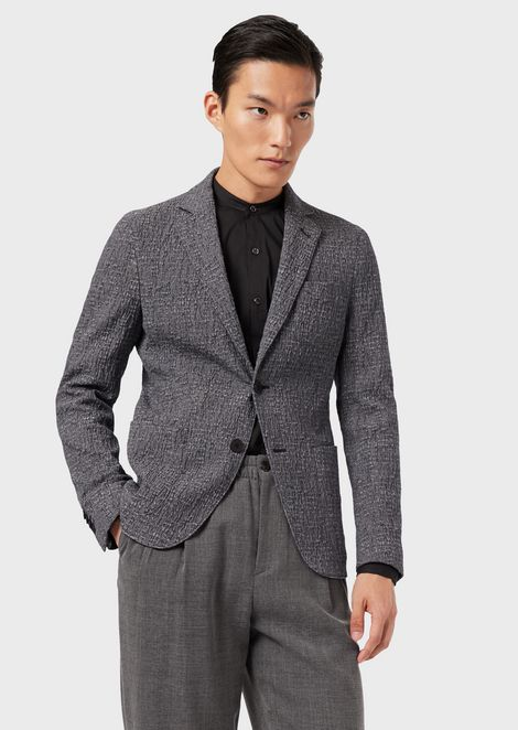 Regular-fit, crépon Upton Jacket with a two-way stretch design