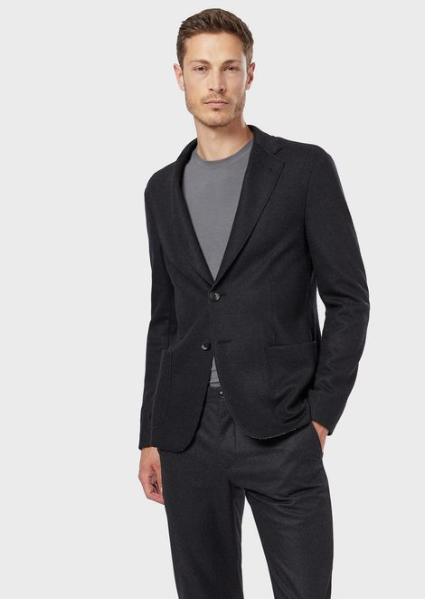 Slim-fit single-breasted jacket in double-sided interlock