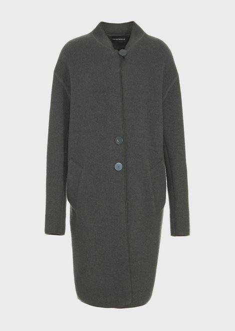 Однобортное пальто из валяной шерсти