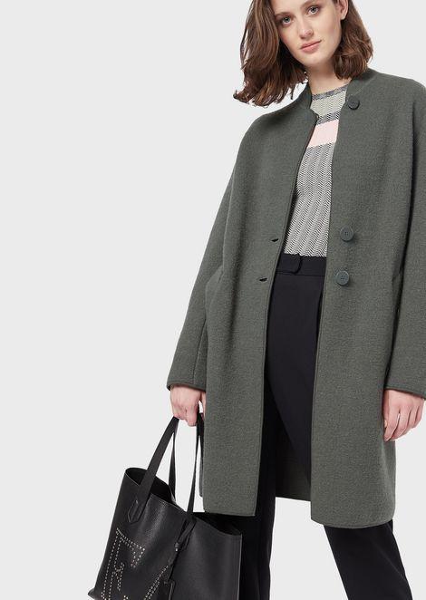 Cappotto monopetto in lana cotta