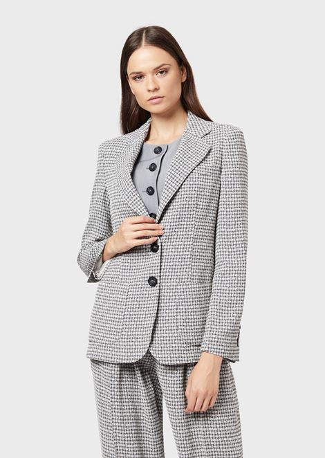 Houndstooth single-breasted jacket