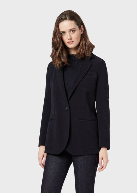 Single-breasted jacket in textured stretch wool