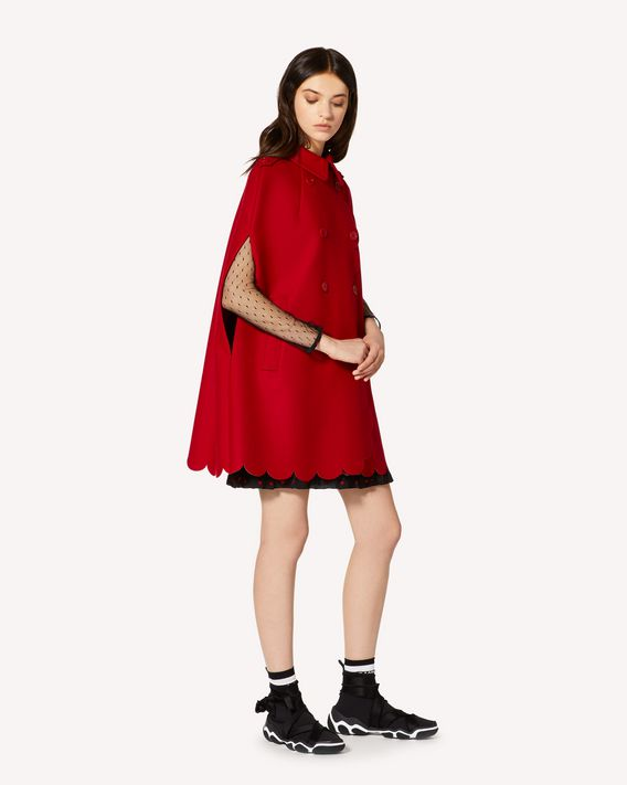 REDValentino Wool and cashmere cape with scallop detail