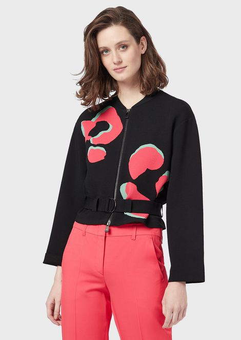 Ottoman-fabric bomber with LeoFlower motif