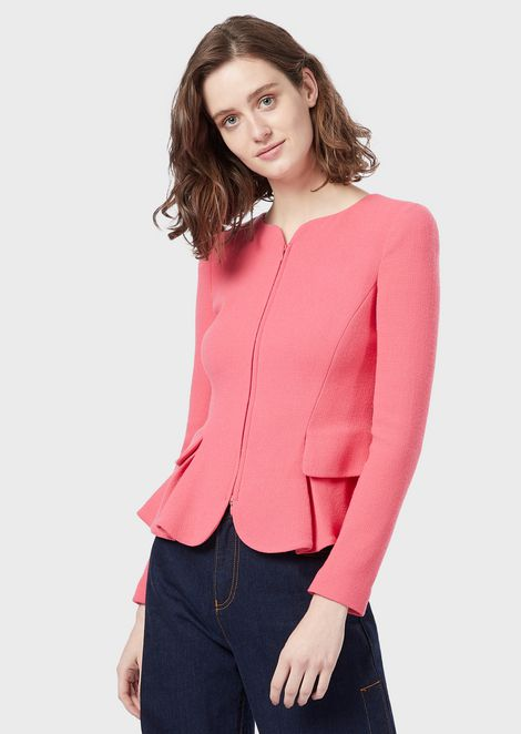 Peplum jacket in double-crêpe wool