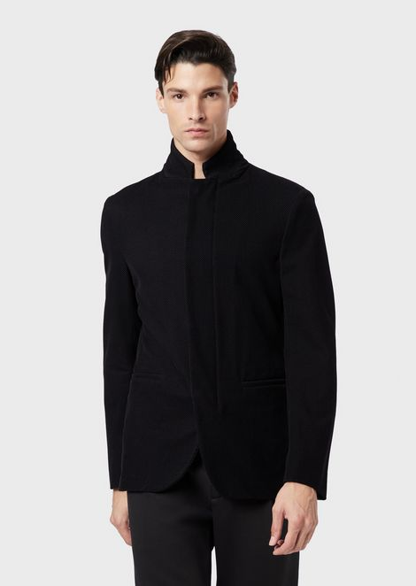 Nehru-collar jacket in flocked jersey