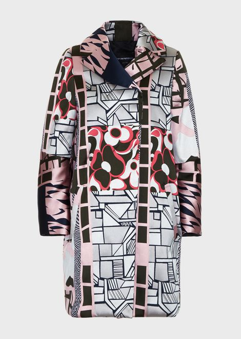 Padded overcoat in patchwork jacquard fabric