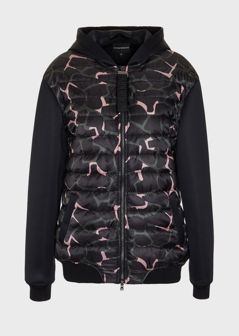 Shiny scuba fabric blouson