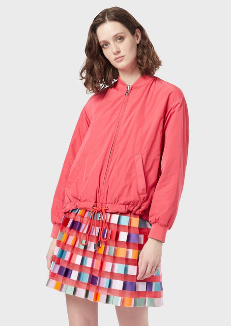 Reversible bomber in two-tone taffeta