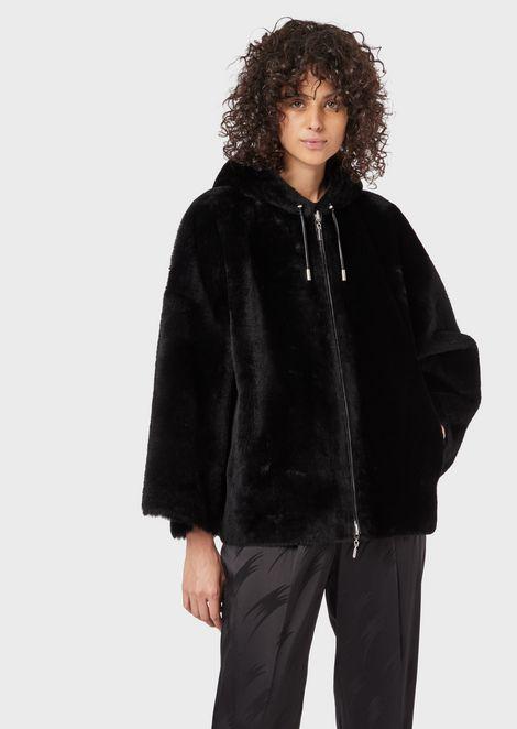 Reversible merino wool sheepskin with hood