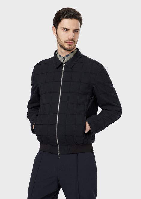Blouson in virgin wool jacquard with raised design